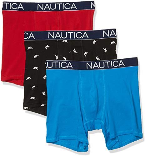 Nautica Men's 3-Pack Classic Underwear Cotton Stretch Boxer Brief, Red/Capri/Swordfish Print Black, X-Large