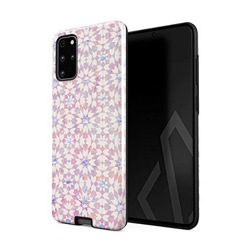 BURGA Hülle Kompatibel mit Samsung Galaxy S20 Plus - Licht Weiß Rosa Pink Farbig Marmor Marble Moroccan Fliese Muster Mosaik Robustes Stoßfestes Doppellagiges Hardcase + Silikon Handyhülle Case Cover