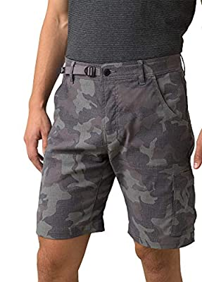 """prAna - Men's Stretch Zion Lightweight, Water-Repellent Shorts for Hiking and Everyday Wear, 10"""" Inseam, Gravel Camo, 33"""