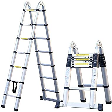 LADDERS Ladders and Durable 3.8M/12.5Ft Telescopic Ladder a Frame Multi-Purpose Folding Extending Portable Steps Ladder Max Load 150Kg/330Lb