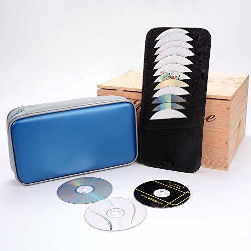 JUSTDOLIFE CD Case 92 Capacity DVD Heavy Duty Wallet Portable Hard Plastic Disc Holder Zipper Storage Bag with Sun Visor Organizer for Home Car Travel