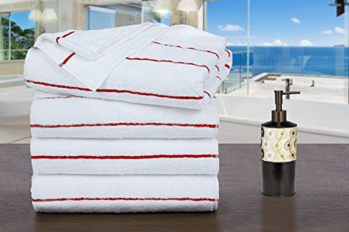 Ample Decor 100% Cotton Extra Long Cabana Stripe Pack of 4 Beach & Pool Towels, Extra Absorbent...