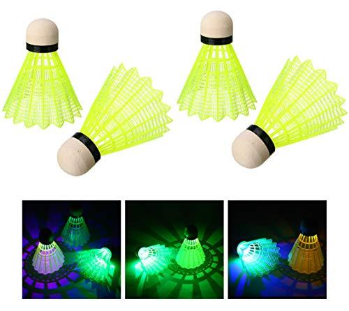 Crazy Ling Bolas de plástico de bádminton LED, plástico de Color LED bádminton Luminoso Adecuado para día o Noche (4 Piezas)