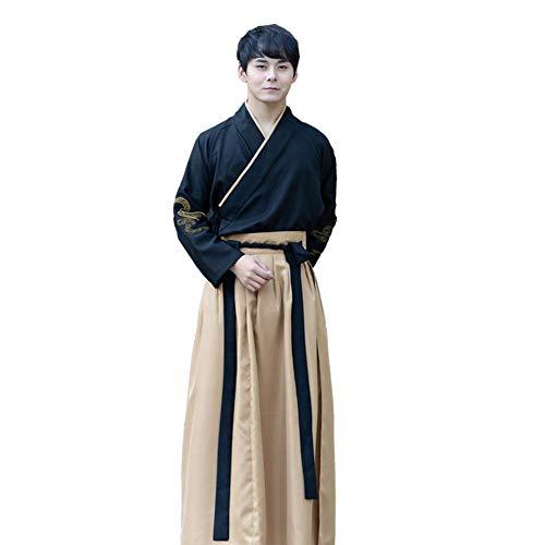 Susichou Chinese stijl, verbeterde kleding, herenkleding, hennep, vechtkunst, studentenuniform, prestatiekleding