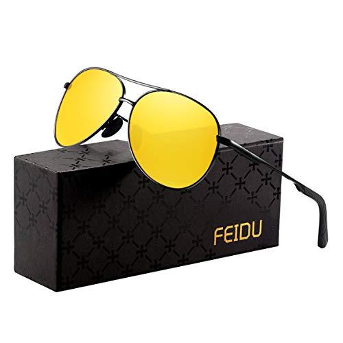 Sonnenbrille Herren Polarisierte Sonnenbrille Damen - Metallrahmen Polarisiert sonnenBrille Herren Fahren Unisex UV400 FD9002 (Gelb, 2.28)