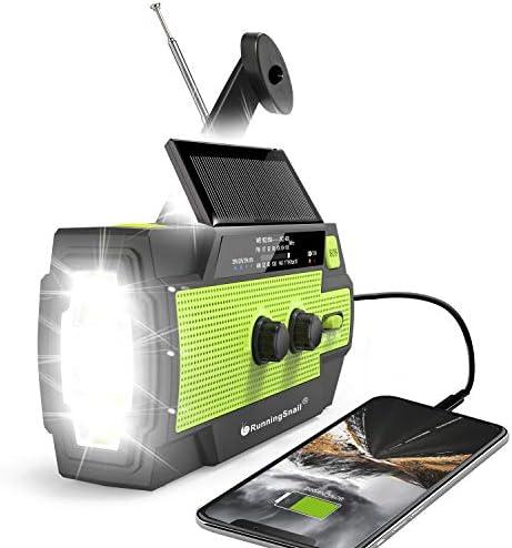 2021 Newest RunningSnail Emergency Crank Radio 4000mAh Solar Hand Crank Portable AM FM NOAA product image