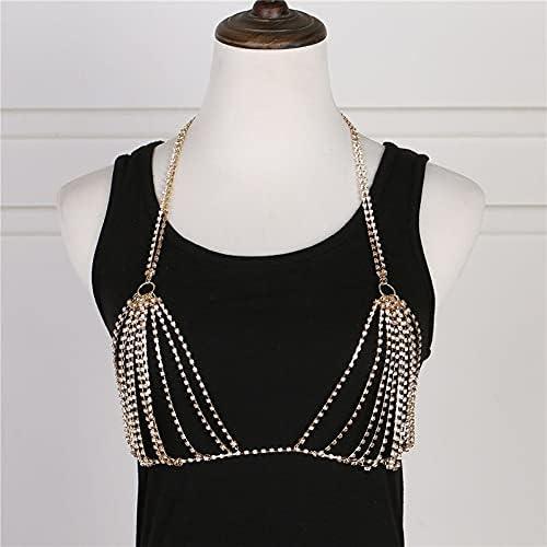 Sexy Bra Accessories Body Jewelry Chest Chain Bikini Fashion Waist Chain (Metal Color : D28-1)