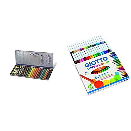 Giotto 237500 - Supermina Scatola di Metallo da 50 Pezzi, multicolore & Turbo Color pennarelli in astuccio da 36 colori