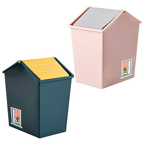 Mini Cubo de Basura con Tapa, Contenedor de Cosméticos Pequeño de Plástico de 1,5 l, para Baño, Tocador, Automóvil, Oficina, Encimera, Mesa, Cubo de Basura (Rosa y Verde Oscuro)