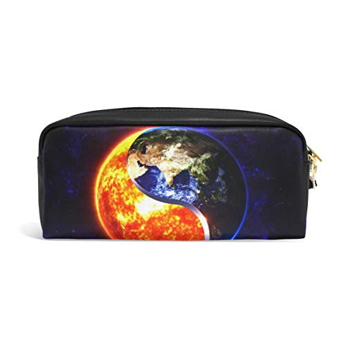 3D Yin Yang Sun Earth Pencil Pounch for Teenage Case Pen Bag Zipper Boy Girl Women College School Writing Supply Leather PU with compartments