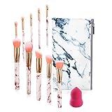 FORLADY Brochas Maquillaje 10 Piezas Set Foundation Brush Blending Face Powder Blush Set de Brochas de Maquillaje Profesiona con Esponja Maquillaje Bolsa PU (Mármol Rosa)