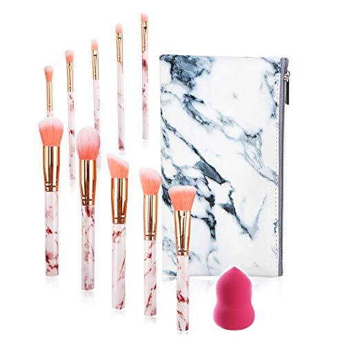 FORLADY Pinceaux de Maquillage 10 PCS Blush Fondation Pinceau Eye Visage Liquide Poudre crème Cosmétique Pinceaux avec Blender épongeet Un Sac à Cosmétiques(Marbre Rose)