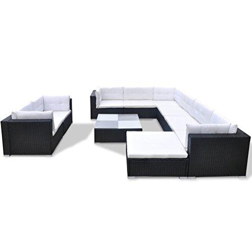 Festnight 32-TLG. Gartensofa Set mit 1 Teetisch Gartenlounge Garten Lounge-Set aus Polyrattan Loungegruppe Sitzgruppe für Terrasse Garten - Schwarz - 4