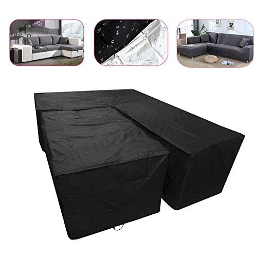 LXJ Outdoor Garden Furniture Cover Corner Sofa Cover Table Dust Cover Sunscreen Waterproof