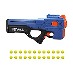 MOTORIZED NERF RIVAL BLASTING -- Power into Nerf Rival battles with the motorized Charger MXX-1200 blaster -- rev the motor and fire a dozen rounds in a row from this 12-round capacity blaster INCLUDES 24 ROUNDS -- This fast-firing motorized blaster ...