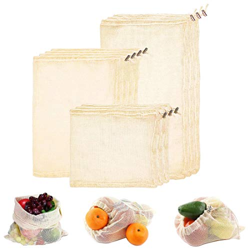 Premium Reusable Mesh/Produce Bags, Set of 10 | Raw, Organic, Unbleached Cotton | Double-Stitched, with Tare Weight on Tags