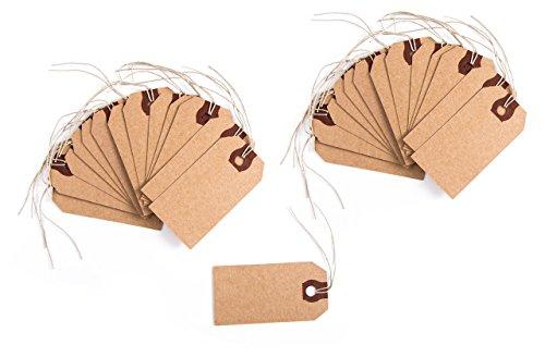 Logbuch-Verlag 25 bruin kraftpapier DIY cadeauhangers met snoer prijs etiketten natuur tafelkaarten naamplaatjes verpakking geschenken knutselen