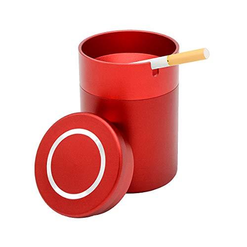 NOSTAFY Alloy Aluminum Windproof Enclosed Home Ashtrays, Car Cup Holder Cigarette Ashtray,...