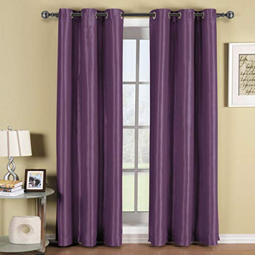 Royal Hotel Soho Purple Grommet Blackout Window Curtain Panel, Solid Pattern, 42x108 inches