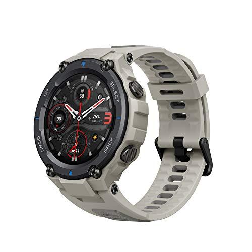 Amazfit T-Rex Pro Smartwatch mit Herzfrequenz, Schlaf, Stressüberwachung, SpO2 und Temperaturmessung, Militär-Design, 100 Sport-Modi, 18 Tage Akkulaufzeit, 10 ATM wasserdicht, Desert Grey