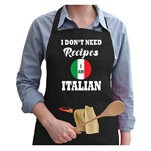 DTH GLOBAL: I Don't Need recepes I am Italian Apron with 2 Large Pockets- Apron for Women, Men - Gift for Mom, Dad, Grandma, Grandpa or Your Friend - Black
