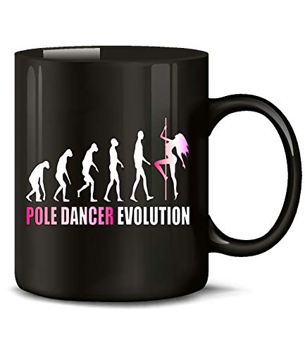 Pole Dancer Evolution Tanzsport 2023 Geburtstag Geschenk Fun Tasse Becher Kaffeetasse Kaffeebecher Schwarz