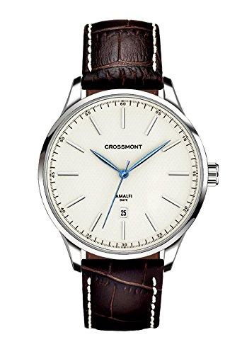 Crossmont orologio al quarzo, calibro 40.9mm con display analogico e cinturino in pelle marrone avorio 0110709
