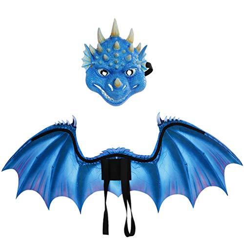 PRETYZOOM Conjuntos de Disfraces de Alas de Dragón No Tejidos para Niños Carnaval Accesorios de Disfraces de Cosplay para Favores de Fiesta Decoración de Vestir para Niños (Azul)