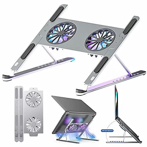 HGTRH Soporte para Laptop con Ventilador, Laptop Stand Adjustable, con 8 Niveles Regulables, con Ventilador De Refrigeración De Doble Turbo Aleación De Aluminio Almohadilla De Silicona