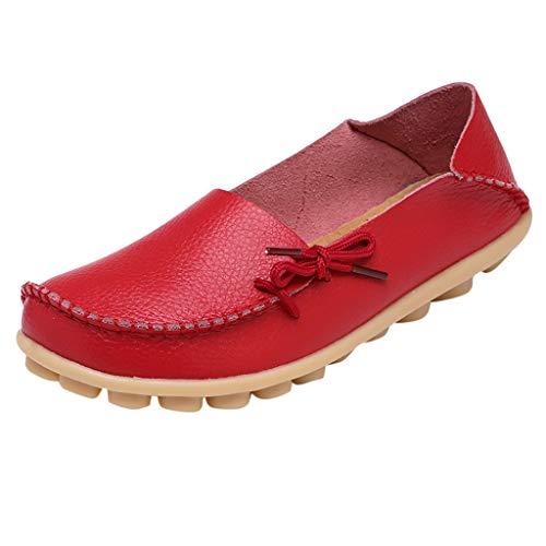 iYmitz Damen Klassisch Mode Weiche Krankenschwester Krawatte Fache Schuhe lässige Fahrschuhe Mokassins Komfort Handgefertigt(rot,EU-39)