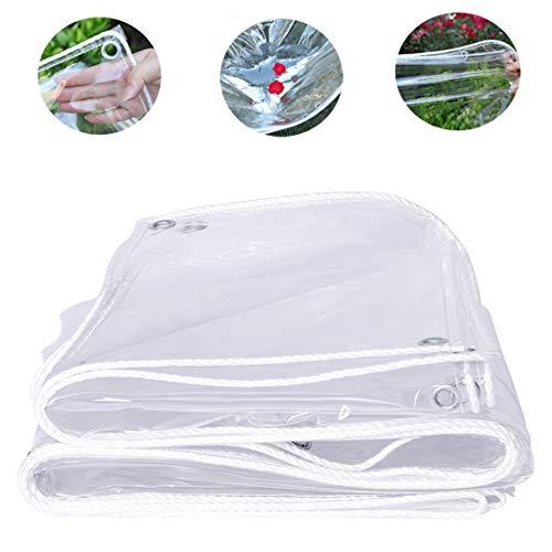 FENGSHOUU Lona Impermeable Transparente Ojales Cortina De Protección Resistente a Intemperie,Invernadero a Prueba de Lluvia Toldos de Plantas 0.5mm Tela Cubiertas Exterior Jardín Aislamiento