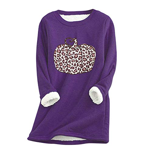 Masrin Mask Damen Dickes Fleece Sweatshirt Kürbis Leopardenmuster Samt Winter Warm Pullover O-Ausschnitt Langarm Oversize Shirts Top(XL,Violett)
