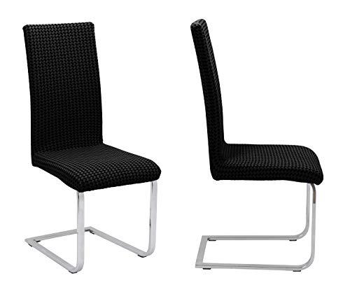 BEAUTEX 2er Set universal Stretch Stuhlhusse, elastische Husse Bi-Elastic, Motiv und Farbe wählbar (Antonella Schwarz)