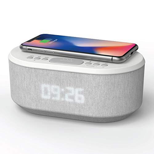 Radiowecker Digital mit USB-Ladegerät, Bluetooth-Lautsprecher, kabelloses Laden und dimmbares LED-Display – Netzbetrieb (Weiß)