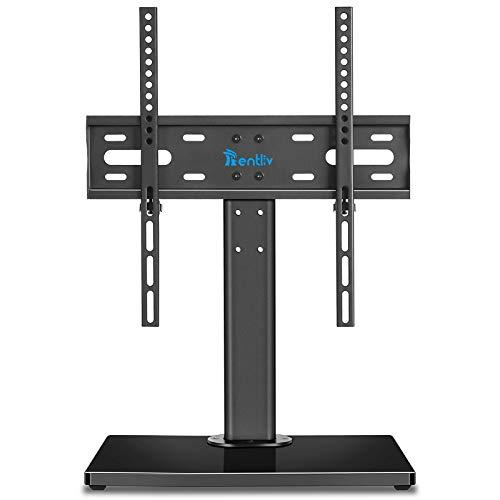 Base TV da tavolo universale con base in legno per la maggior parte dei televisori piatti e curvi da 32 a 55 pollici, base TV regolabile in altezza con gestione cavi, VESA max 400x400mm, fino a 45 kg