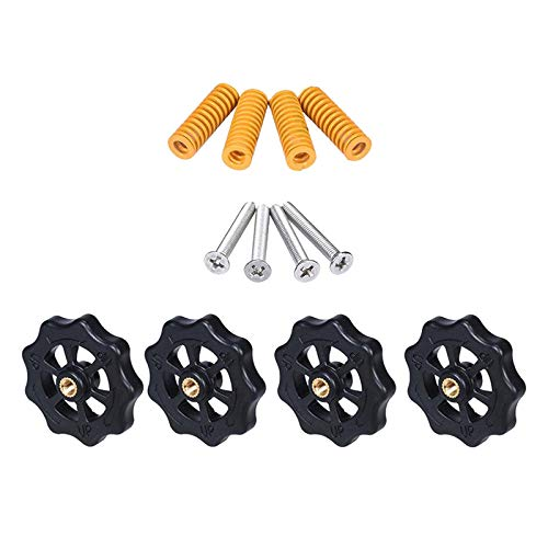 H HILABEE 4PCS Hand Twist Leveling Nut with 4PCS Hot Bed Die Springs for Anet A8 ET4PRO ET5, for Creality CR-10/10S, CR-10 Mini, CR-X, CR-20, Ender 3