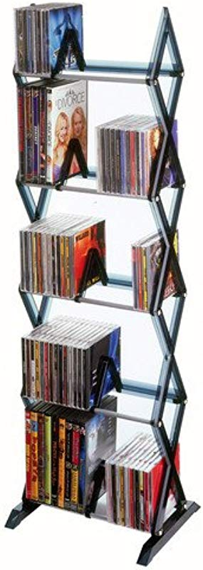 Atlantic Mitsu 5 Tier Media Rack 130 CD Or 90 DVD BluRay Games In A Space Saving Customizable Clear Smoke Finish PN64835195
