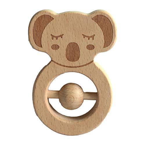 Mordedor de madera de juguete con forma de koala, seguro para recién nacidos, juguetes de dientes molares, sonajero para bebés, sin BPA, juguetes de educación temprana para bebés de 6 meses o más