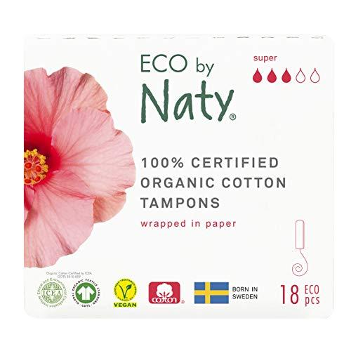 Eco by Naty, Tampons, Super, 18 tampons. Fabriqués à partir de fibres végétales. Vegan. 100% coton bio.