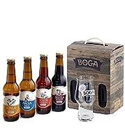 Coffret composé de 4 bières 33cl Boga: 1 Argia pils 5%, 1 Tosta ale 5,5%, 1 Loréa IPA 6%, 1 Beltza stout 6.3% Bières brassées au Pays Basque dans la tradition des maîtres brasseurs, élaborées à partir d'ingrédients issus de la région Un verre à bière...