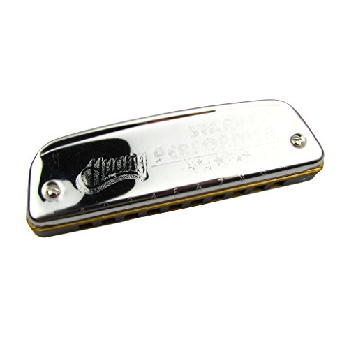 Huang Brand Star Performer Harmonica 10 Hole,F Key,Silver Color