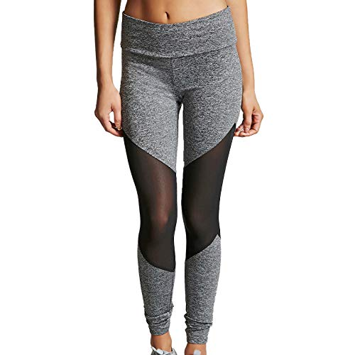 Pudyor Leggings de Costura de Malla Pantalones Deportivos Mallas de Yoga Leggins de Cintura Alta Pantalón de Deporte Transpirables Elásticos Jegging Ideal para Fitness Yoga y Pilates