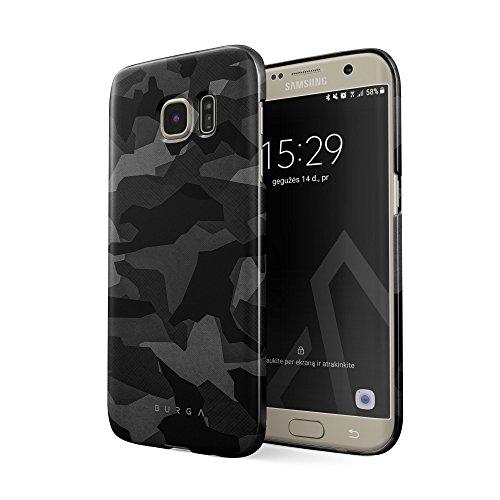 BURGA Hülle Kompatibel mit Samsung Galaxy S6 Edge Handy Huelle Nacht Grau Städtisch Schwarz Camo Camouflage Tarnung Muster Dünn, Robuste Rückschale aus Kunststoff Handyhülle Schutz Case Cover