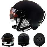 サンバイザーと調整バックル付きのスノースキー安全ヘルメット 冬のアウトドアスポーツやライディングに適した自転車の乗馬用帽子,黒,L