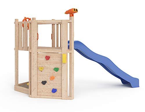 ISIDOR Little Star Spielturm Baumhaus Schaukel Kletterturm Rutsche 1,2 m Podest Inkl. Sandkasten, Kletterwand und Anbau-Auswahl! (ohne Anbau)