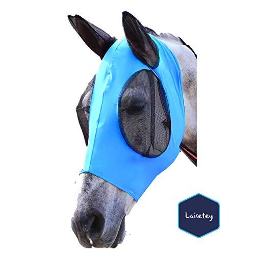 Laisetey Pferdefliegenmaske, Fliegenmaske mit Ohren, Extra Komfort Lycra Grip Soft Mesh Pferdefliegenmaske mit Ohren (Cob/Arab,Blue)