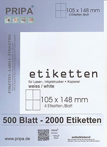 pripa Etikettenformat 105 x 148 mm, 500 Blatt Großpackung DIN A4 selbstklebende Etiketten. 4 Etiketten pro Bogen (500)