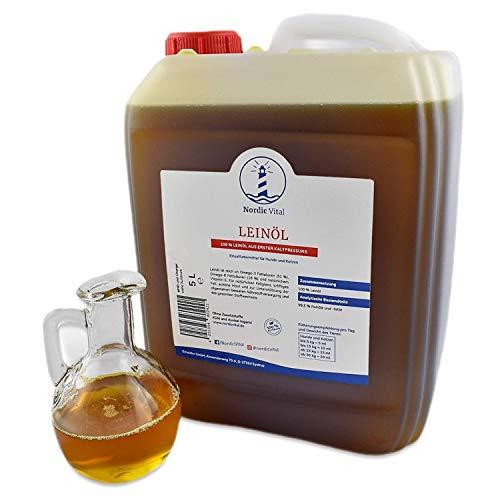 NordicVital 5 Liter Kanister Leinöl 100{f2f11e9d318d194e98eb1f93652d165075d9dea93dfdfcd8a660657d81997208} frisch, Premiumqualität für Pferde, Hunde, Katzen - Leinsamenöl Kaltgepresst perfekt zum Barfen
