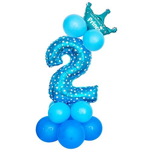 Comius Sharp Palloncino Foil Numero Palloncino, 32 Pollici Gigante Palloncini Digitali Decorazione Festa di Compleanno (Blue Number 2)