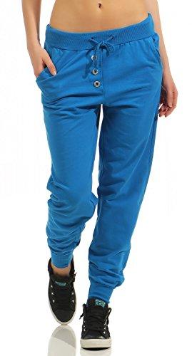 Damen Freizeithose Sporthose Sweat Pants lang (623), Grösse:M / 38, Farbe:Blau